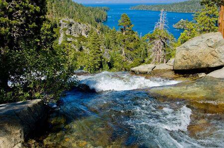 tahoe: Waterfall by Emerald Bay, Lake Tahoe California Stock Photo