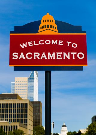 downtown capitol:  Welcome to Sacramento sign Stock Photo