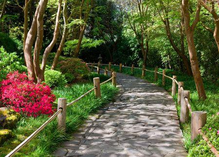pfad: Stone Walkway in japanische Teegarten, San Francisco