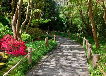 Stone wandelpad in de Japanese Tea Garden, San Francisco  Stockfoto