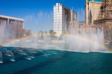 bellagio fountains: LAS VEGAS - APRIL 1: Rainbow on the Fountains of Bellagio on April 1, 2009 Editorial
