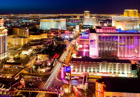LAS VEGAS - APRIL 2: In this time lapse image, traffic travels along the Las Vegas strip on April 2, 2009