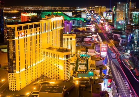 LAS VEGAS - APRIL 2: In this time lapse image, traffic travels along the Las Vegas strip on April 2, 2009