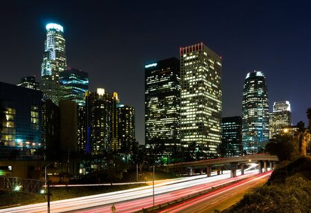 los: Traffic through Los Angeles at night