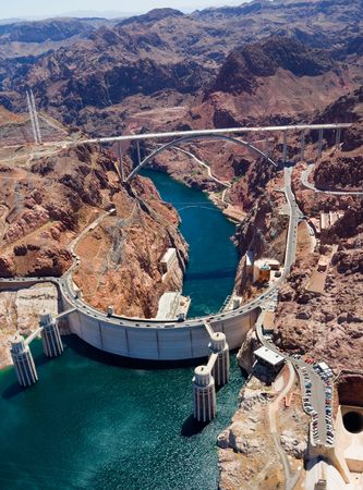 mead: Aerial view of Hoover Dam and the Colorado River Bridge Stock Photo