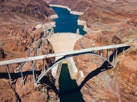 hoover dam: Aerial view of Hoover Dam and the Colorado River Bridge Stock Photo