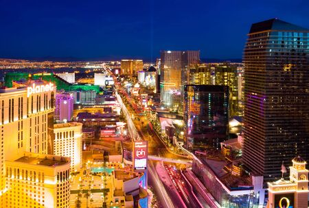 LAS VEGAS - JUNE 3: In this time lapse image, traffic travels along the Las Vegas strip on June 3, 2010 in Las Vegas, Nevada.  Stock Photo - 7115268