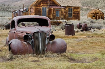 abandoned car: Bodie (ghost town), California Stock Photo