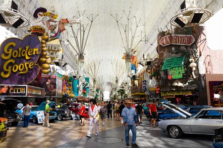 when: LAS VEGAS - JUNE 4: Fremont Street in Las Vegas on June 4, 2010. The street is the second most famous street in the Las Vegas. Fremont Street dates back to 1905, when Las Vegas itself was founded.