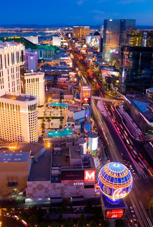 LAS VEGAS - JUNE 3: An aerial view of Las Vegas strip on June 3, 2010 in Las Vegas. The strip is approximately 4.2 mi (6.8 km) long.