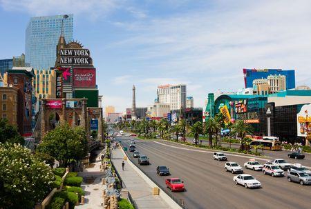 approximately: LAS VEGAS - JUNE 3: A view of Las Vegas strip on June 3, 2010 in Las Vegas. The strip is approximately 4.2 mi (6.8 km) long.  Editorial