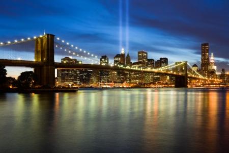 ニューヨーク市で 911 光記念館 写真素材