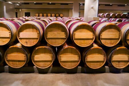 Wine barrels in winery cellar  Stock Photo