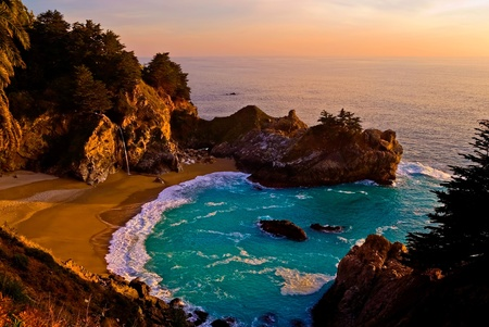 McWay Falls at Big Sur at sunset, California  photo