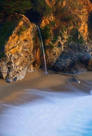 McWay Falls at Big Sur at sunset, California  photo