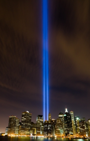 twin tower: 911 Light Memorial in New York City  Stock Photo