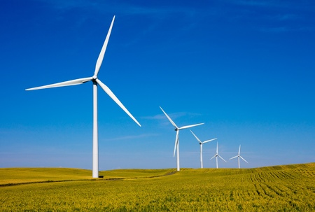 Wind turbines farm Stock Photo - 9597740
