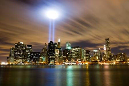 뉴욕시에서 911 빛 기념관 스톡 콘텐츠