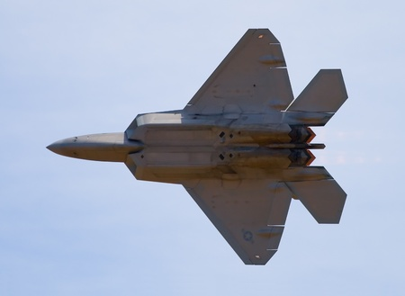 raptor: F-22 Raptor fighter jet at airshow  Editorial