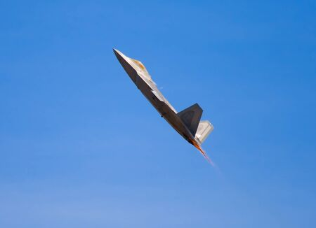 modern fighter: F-22 Raptor fighter jet at airshow  Editorial
