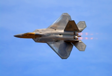 jet fighter: F-22 Raptor fighter jet at airshow  Editorial