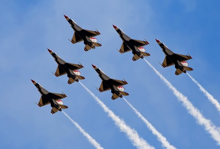 air force: Smoke from army jets flying at airshow in Sacramento California  Editorial