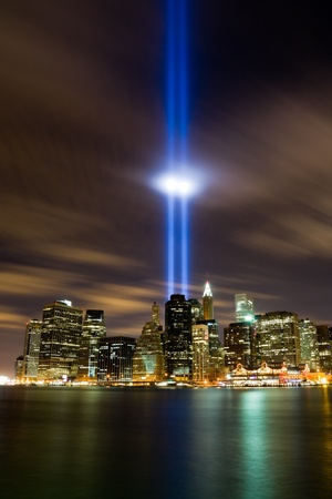river scape: 911 Light Memorial in New York City  Stock Photo