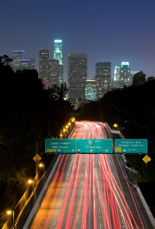 Traffic through Los Angeles at night photo