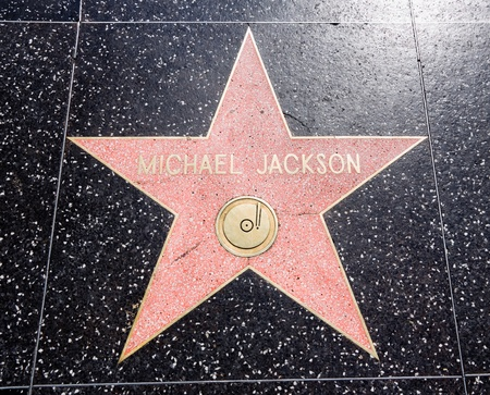 HOLLYWOOD - SEPTEMBER 4: Michael Jacksons star on Hollywood Walk of Fame on September 4, 2011 in Hollywood, California. This star is located on Hollywood Blvd. and is one of 2400 celebrity stars. Editorial