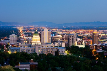 sunset lake: Salt Lake City, Utah at night