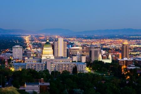 Salt Lake City, Utah in der Nacht
