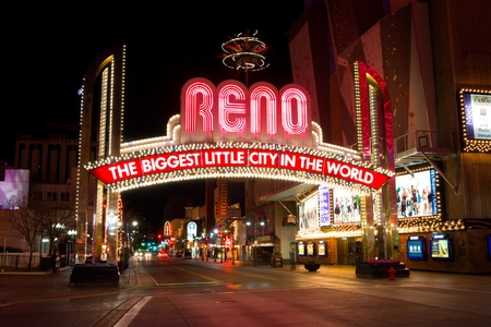 RENO - DECEMBER 4: The Reno Arch on December 4, 2011 in Reno, Nevada. The original arch was built in 1926 to commemorate the completion of the Lincoln and Victory Highways. Stock Photo - 11400960