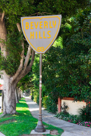BEVERLY HILLS - SEPTEMBER 6: The Beverly Hills City Limits Sign along Santa Monica Boulevard on September 6, 2011 in Beverly Hills, California. Stock Photo - 11593560