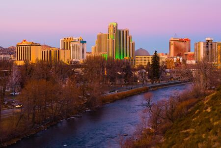 Reno, USA - January 21, 2007: Reno, known as The Biggest Little City in the World, is famous for its casinos, and is the birthplace of the gaming corporation Harrahs Entertainment.