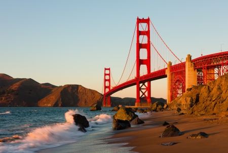 san francisco bay: Golden Gate Bridge in San Francisco at sunset  Stock Photo