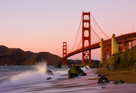 Golden Gate Bridge in San Francisco at sunset photo