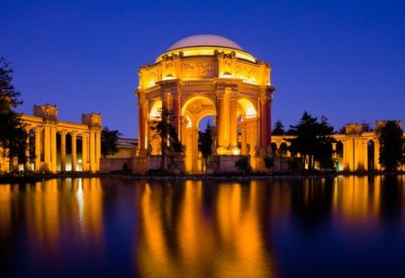 museum visit: Palace of fine Arts at night in San Francisco
