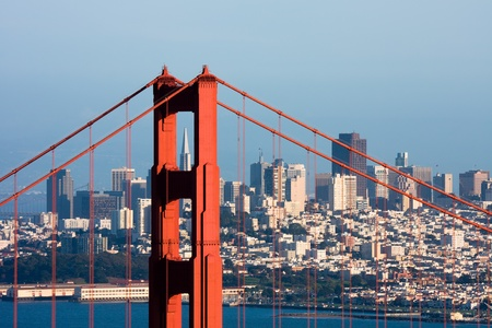 golden: Golden Gate Bridge and downtown San Francisco