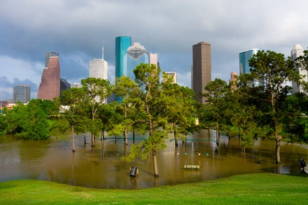 Flooded playground in Houston Texas