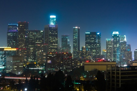 los angeles: Los Angeles skyscrapers at night Stock Photo