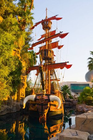 man made structure: Viking Ship in Las Vegas at sunset  Editorial