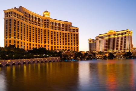 Bellagio Hotel and Caesars Palace in Las Vegas at night