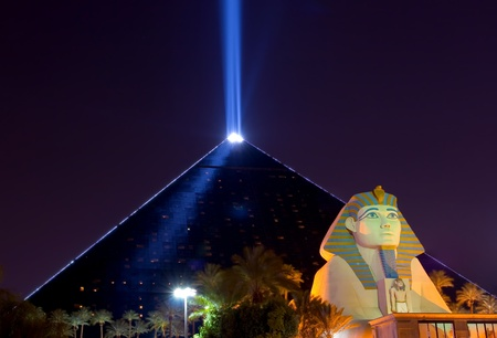 Pyramid and sphinx at night in Las Vegas  Editorial