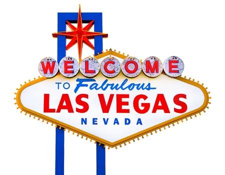 Willkommen in Fabulous Las Vegas Sign isoliert Standard-Bild - 13014736