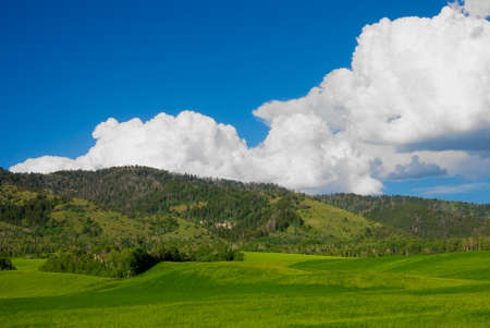 wyoming: Clouds over the hills in Wyoming Stock Photo