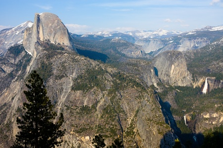 half dome: Aerial view of Half Dome and waterfalls in Yosemite