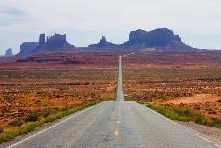 desert highway:  Highway 163 in Monument Valley  Stock Photo