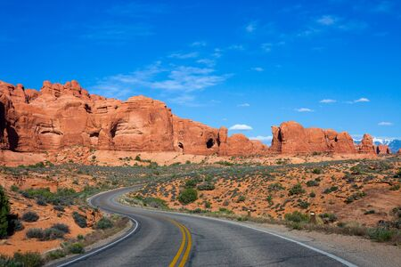 arches national park: Winding road at Arches National Park, Utah Stock Photo