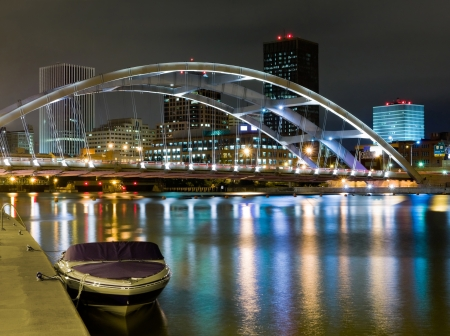 Rochester at night, New York State Stock Photo