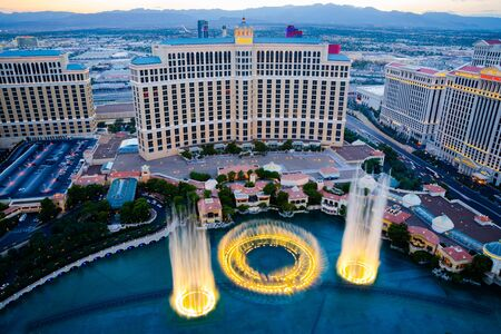 bellagio: Las Vegas, USA - August 14, 2012: Musical fountains at Bellagio Hotel and Casino. The Bellagio opened October 15, 1998 and it was the most expensive hotel ever built at US$1.6 billion. Editorial